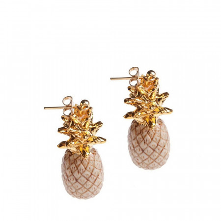 AND MARY PENDIENTES BEIGE AND GOLD PINEAPPLE